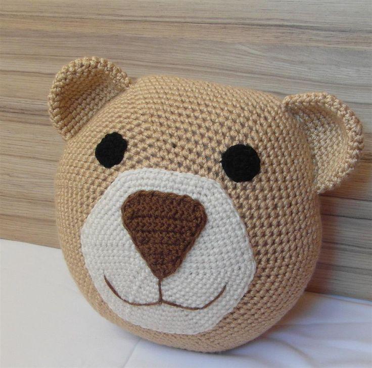 Crochet bear pillow