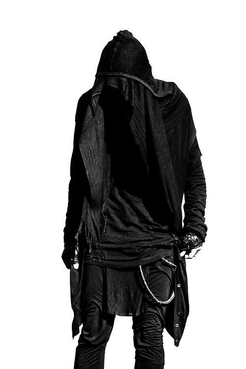 Men's Black hooded studded rock Fashion apparel
