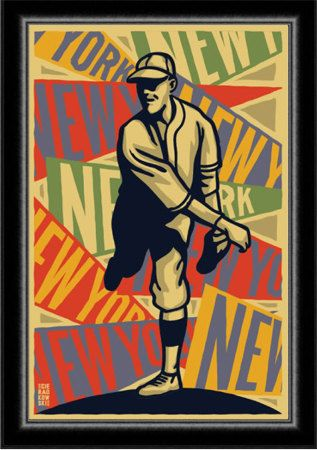 Art Deco 1920's New York Baseball Poster by cieradkowskidesign - boys room