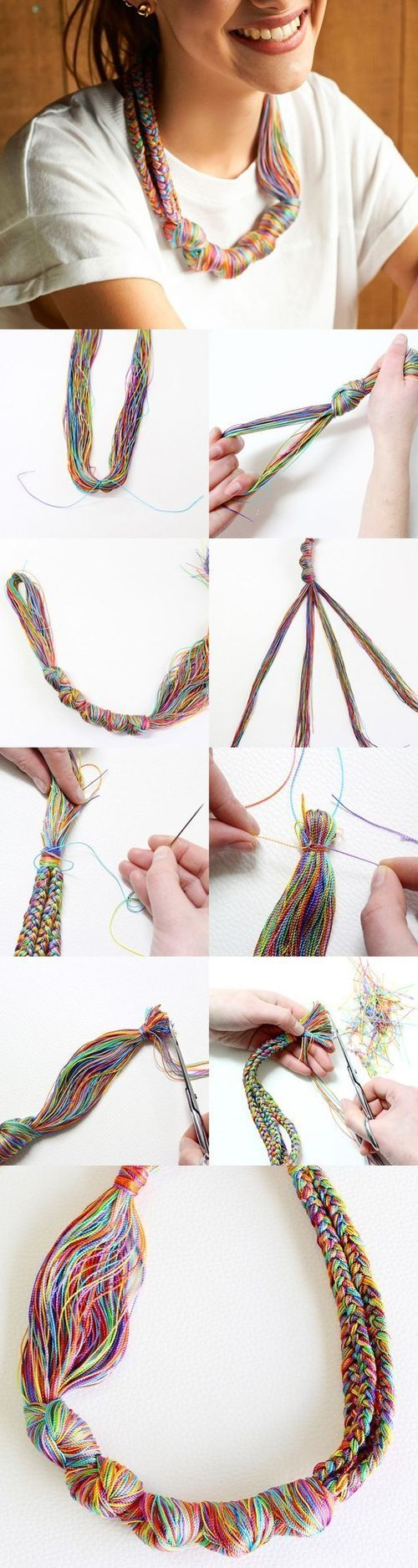 DIY Embroidery Floss Necklace! This is so feminine and versatile!