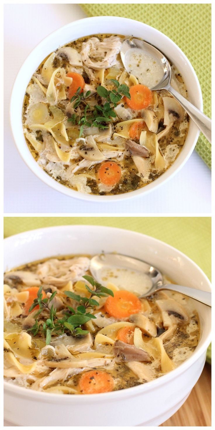 Best Chicken Noodle Soup Recipe. N the only tHings i didn't use was the lemon mushrooms and heavy creme,  i didn't have chicken stock either so i used a pack of Lipton soup and some chicken bullion powder..  soooo delish!