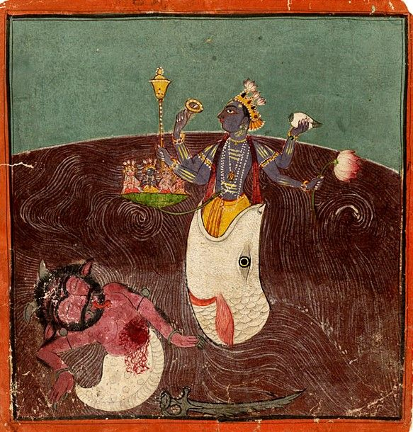 Matsyavatara. Punjab Hills, Basohli. Date: 1675 - 1700. A four-armed Vishnu comes out of the mouth of his incarnation as a fish and a demon in a shell appears dead in the water around him. The four vedas are seen seated on a lotus coming from Vishnu's navel.