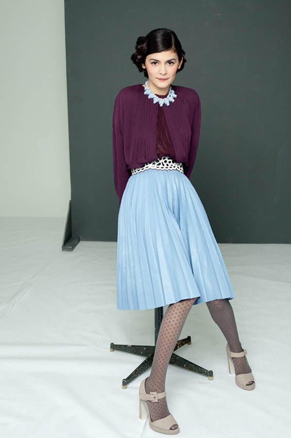 I love this woman! and her skirt, tights & shoe combo. [Audrey Tautou by Shayne Laverdière for Marie Claire Russia]