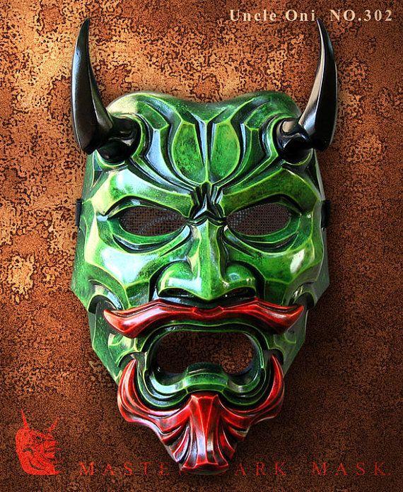 Uncle Oni Mask 302  Green Fiberglass Japanese noh by TheDarkMask, $190.00