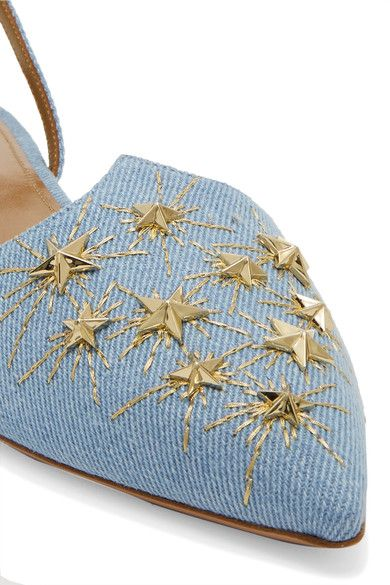 Aquazzura - Nairobi Embellished Denim Point-toe Flats - Light denim