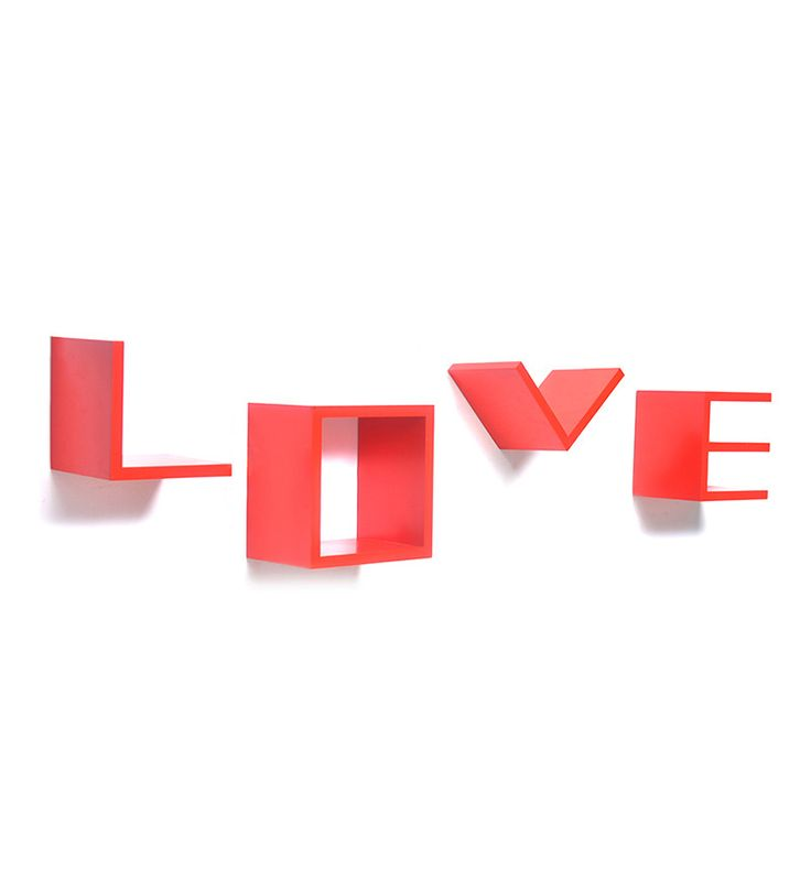 @ Home Love Red Wall Shelf - Set of Four by @ Home Online - Wall Shelves - Home Decor - Pepperfry Product