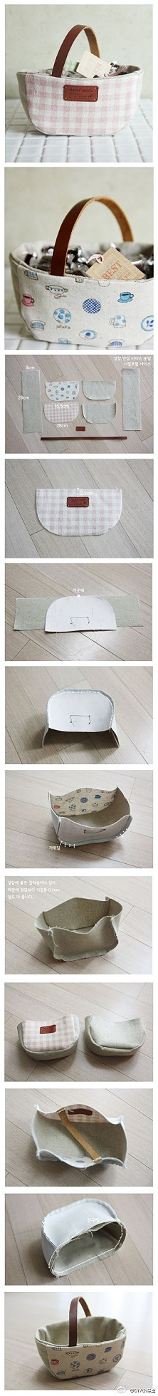 Make your own tote basket. How could would this be with used clothing cloth and a belt as a strap?