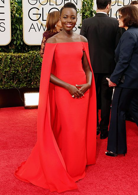 Lupita Nyong'o Stuns in Red Gown, Cape at 2014 Golden Globes: Picture - Us Weekly