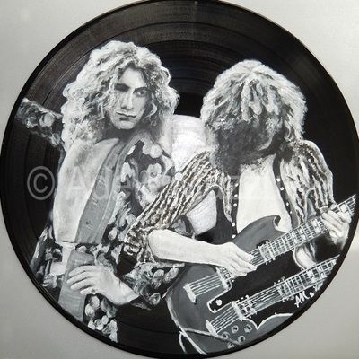 "www.adelemazzulli.com - ""Jimmy Page & Robert Plant"" - Painting on Vinyl"