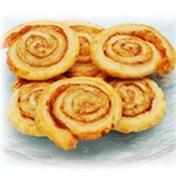 Prosciutto and Parmesan Pinwheels Allrecipes.com. I would use honey mustard, ham, and swiss.  Yummy!
