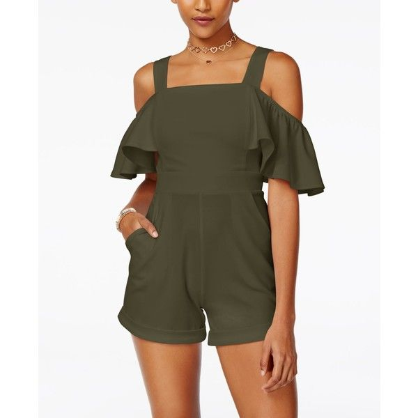 Xoxo Juniors' Cold-Shoulder Romper ($40) ❤ liked on Polyvore featuring jumpsuits, rompers, olive, cold shoulder romper, ruffle romper, cut out romper, olive green rompers and olive green romper