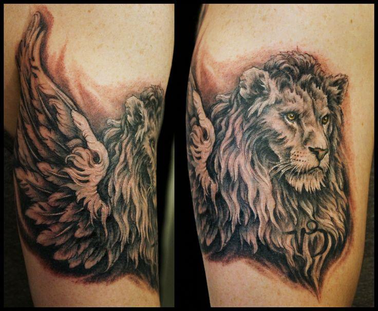 Winged lion tattoo - photo#5