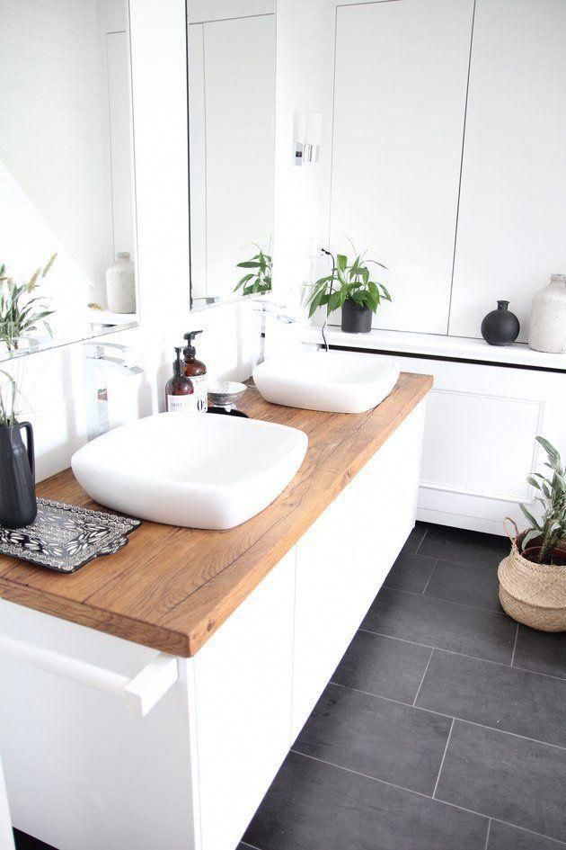 White Bathroom With Wood Countertop Whitetiledbathroom