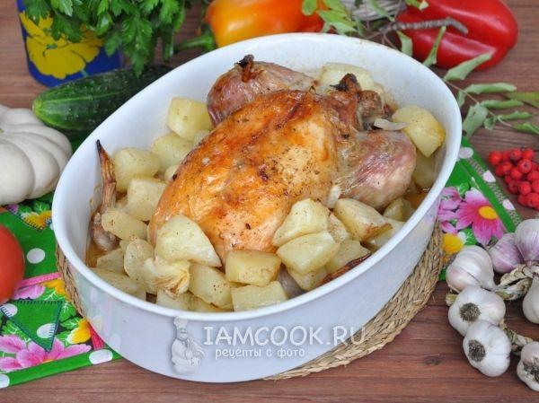 Фото фаршированной курицы с патиссонами в рукаве