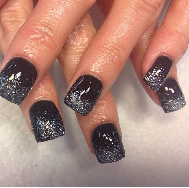Black with silver glitter fade nails | Acrylic nails ...