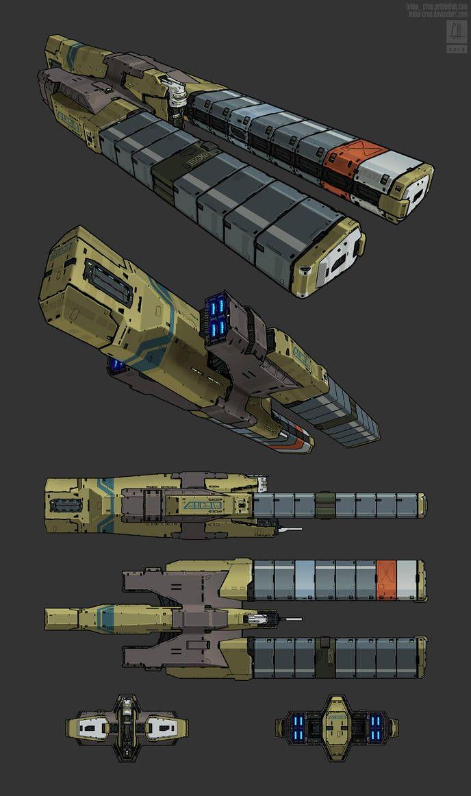 Heavy Cargo Conveyor By Tekka Croe Spaceship Design Spaceship Art Concept Ships