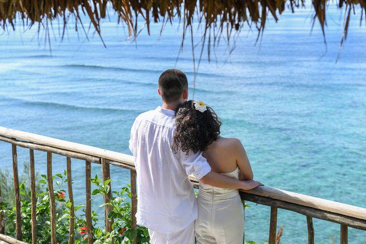 Wedding couple at sunset point  Paradise Cove Island Resort, Yasawa, Fiji. Photographed by Anais Photography.