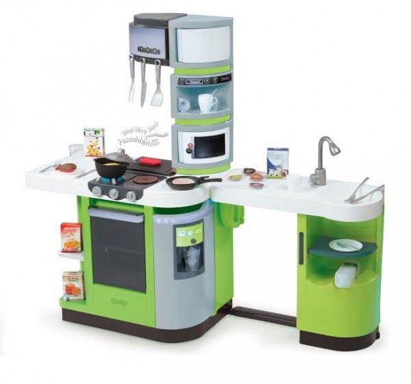 SMOBY 311102 elektronická kuchynka CookMaster Verte zelená s ľadom a opečenými potravinami zvuková + 36 doplnkov 99 cm výška