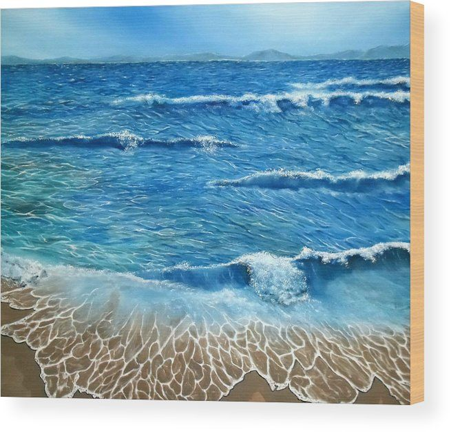 Wood Print,  coastal,scene,seascape,ocean,waves,nature,beach,shore,sandy,splashing,crashing,breaking,lace,blue,rough,beautiful,image,fine,oil,painting,contemporary,scenic,modern,virtual,deviant,wall,art,awesome,cool,artistic,artwork,for,sale,home,office,decor,decoration,decorative,items,ideas
