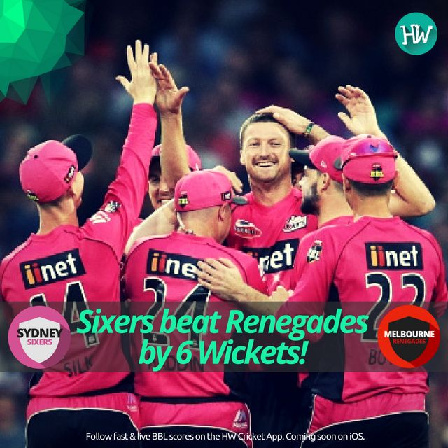 Easy and comprehensive win for Sydney Sixers against the Melbourne Renegades. Renegades sink lower! #BBL06 #cricket #sixers #renegades