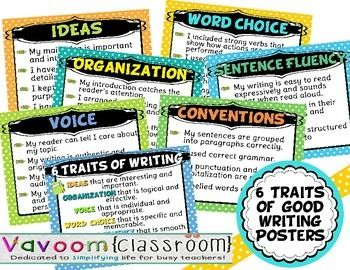 6 Traits of Good Writing Posters. Sized for 8.5X11, these posters identify elements of each of the Six Traits of Good Writing. There are seven posters--one for each trait and one that introduces all of the traits. Perfect for your upper elementary or middle school language arts classroom, these printables are brightly colored and easy to read. #vavoomclassroom vavoomclassroom.blogspot.com