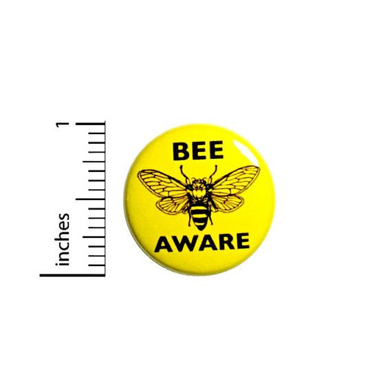 Bee Aware Button Badge Save The Bees Endangered Backpack
