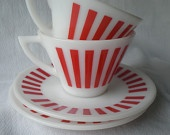 Vintage Milk Glass Cups and Saucers by Hazel Atlas