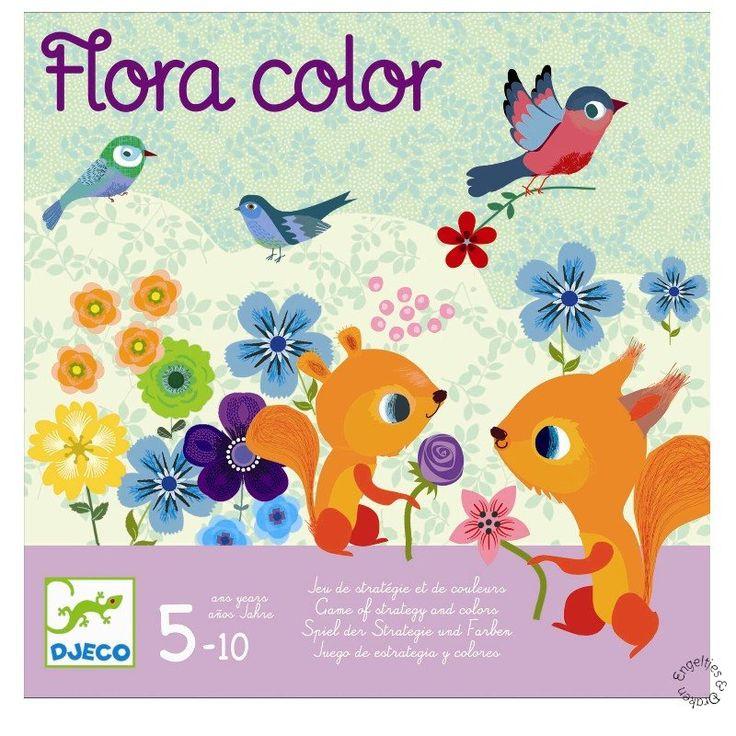 Flora color van Djeco is een strategie- en kleurenspel voor kinderen vanaf 5 jaar. Wie maakt als eerste de juiste bloemboeketten en behaald hiermee het hoogte aantal punten? En let op: de andere spelers kunnen je bloemen stelen!