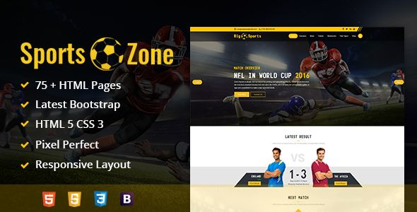 SportsZone: Sports Club, New & Game Magazine Mobile Responsive Bootstrap HTML Template