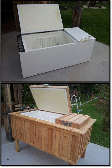 How creative. Turn an old refrigerator into an ice cooler.