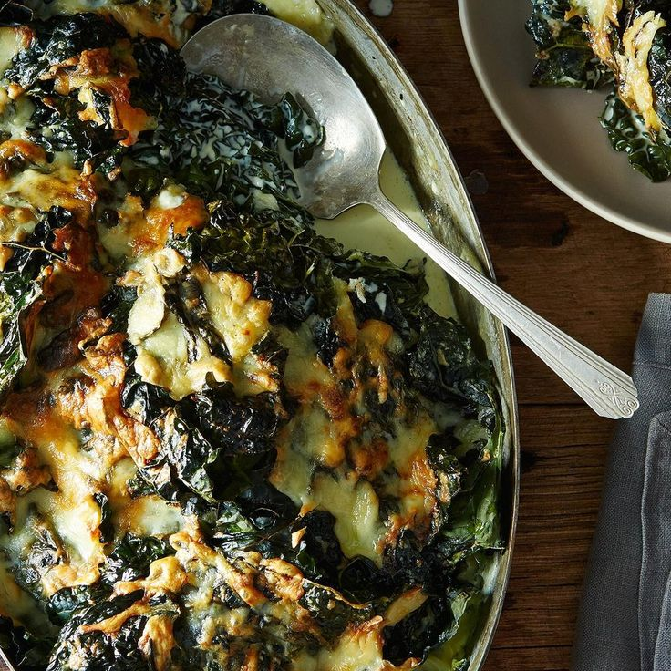 https://food52.com/recipes/32429-lacinato-kale-gratin - This has lots of cream in it - so I would bake it for a special occasion.