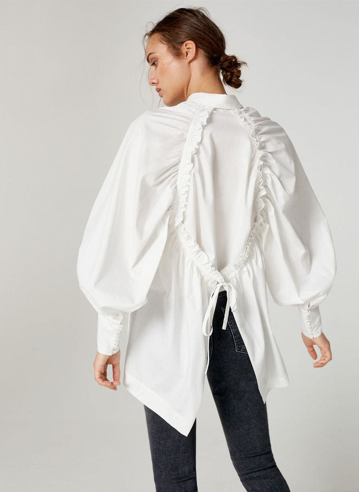 Poplin shirt with gathered back - Shirts and blouses - Ready to wear - Uterqüe Italy