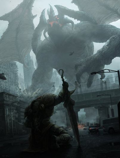 What's the scariest kind of Giant Monster? A - This Guy / B - Godzilla / C - Cthulhu / D - Kaiju / E - Other? Art by Wuw by VV Nan