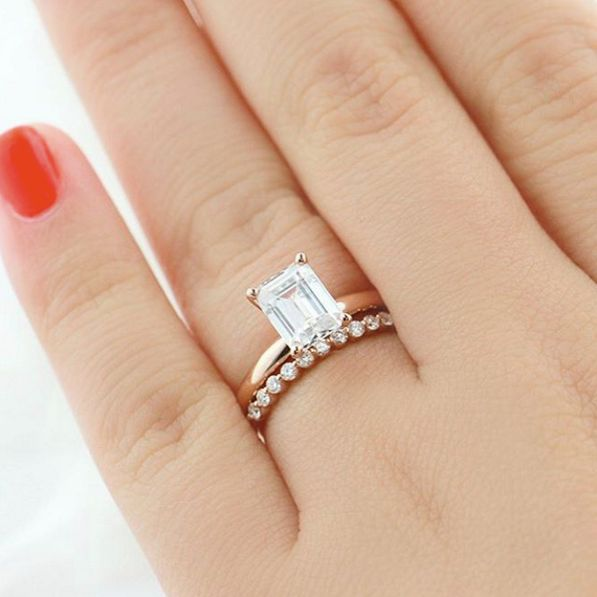 Mixed and Matched in Rose Gold - Traditional Solitaire Engagement Ring with  diamond accented Willow band