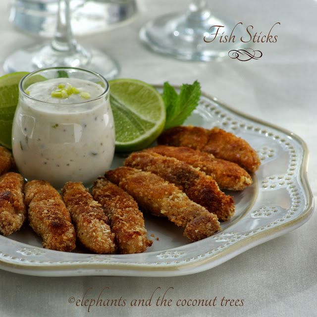 Crispy baked fish sticks with tartar sauce.Healthier finger food for fall evenings ,its egg less too. elephants and the coconut trees: Fish sticks with tartar sauce / Fish fingers / Panko crusted fish sticks/ Finger food / Fish recipe / Thank you Easyfoodsmith