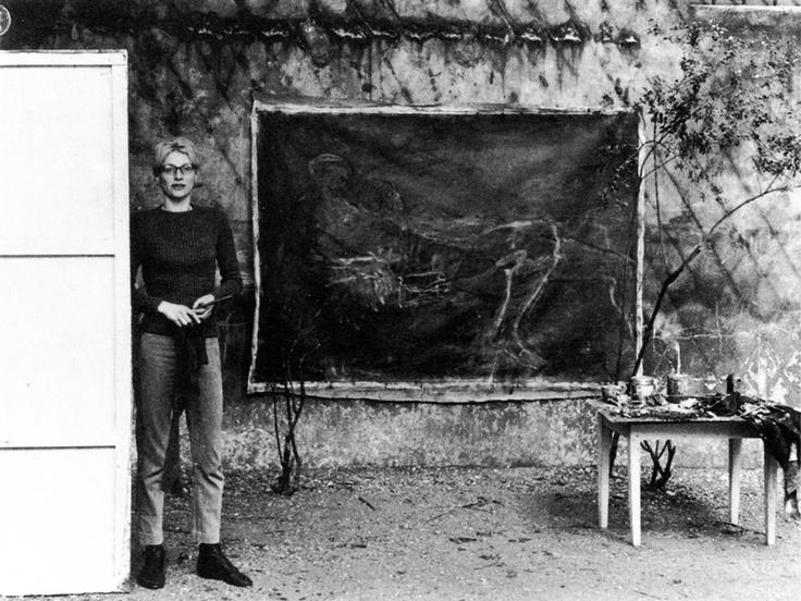 Nancy Spero in her studio, Paris, 1962.