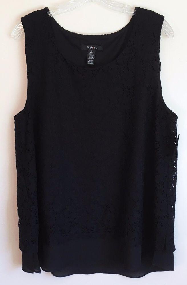 Style & Co Crochet Sleeveless Tunic Tank Top Chiffon Ruffle Boho Black Large L #Styleco #Tunic #Career