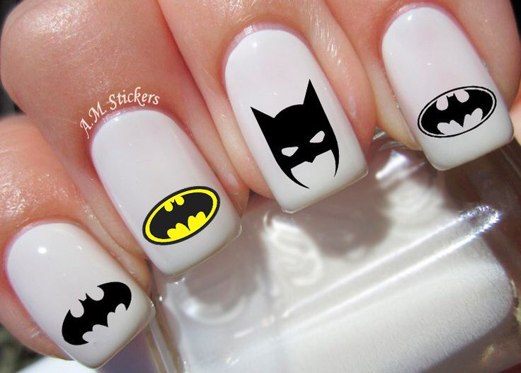52 Batman Nail Decals by AMnails on Etsy https://www.etsy.com/listing/241263176/52-batman-nail-decals