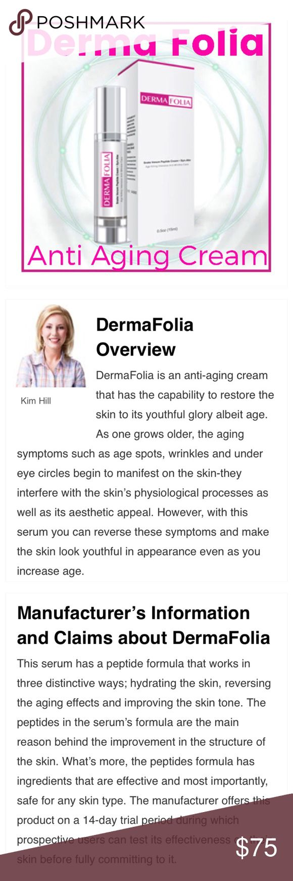 Derma Folia Anti Aging Cream w/Snake Venom Derma Folia anti aging cream with snake venom will restore skin, wrinkles, dark spots, circles under eyes. Brand new in package and paid 90 for it. Never used. Read info from their site above. Reduced from 60!!! 🤣 Derma Folia Makeup