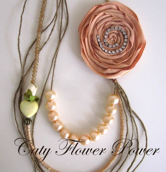 Vintage Flower Necklace Multi Strands Necklace by catyflowerpower