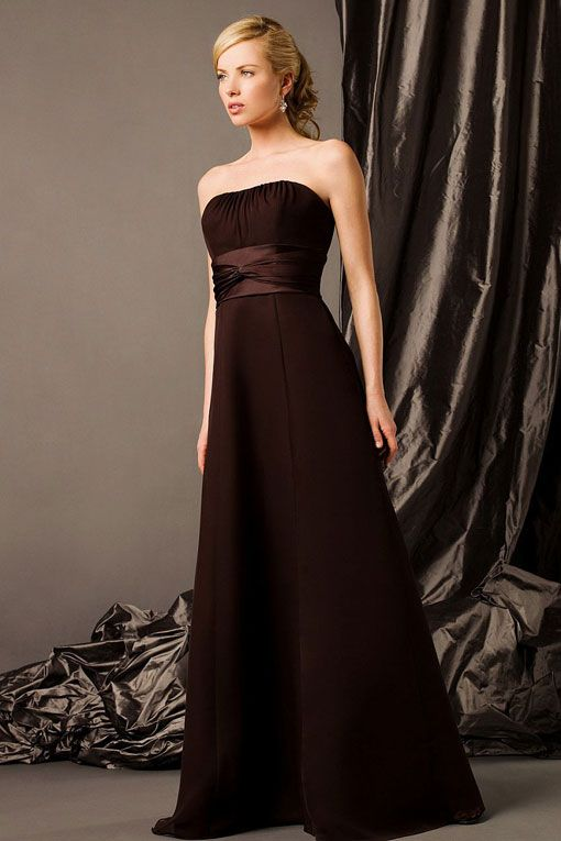 Strapless chiffon over satin bridesmaid dress with empire waist