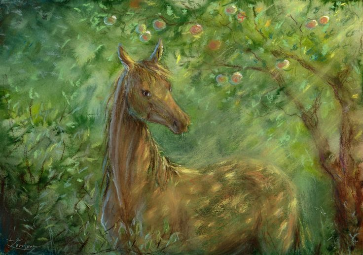 Watercolor, pastel chalk hand painting foal horse, apple tree. Green art with colt. JPG download. High resolution printable digital.