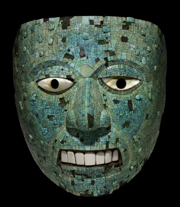 Turquoise Mosaic Mask, Aztec/Mixtec AD 1400-1521, Mexico
