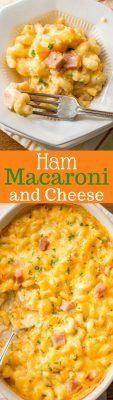 Creamy & rich, Ham Macaroni & Cheese. What could be more comforting than a steaming bowl of macaroni and cheese loaded with sweet ham? www.savingdessert.com