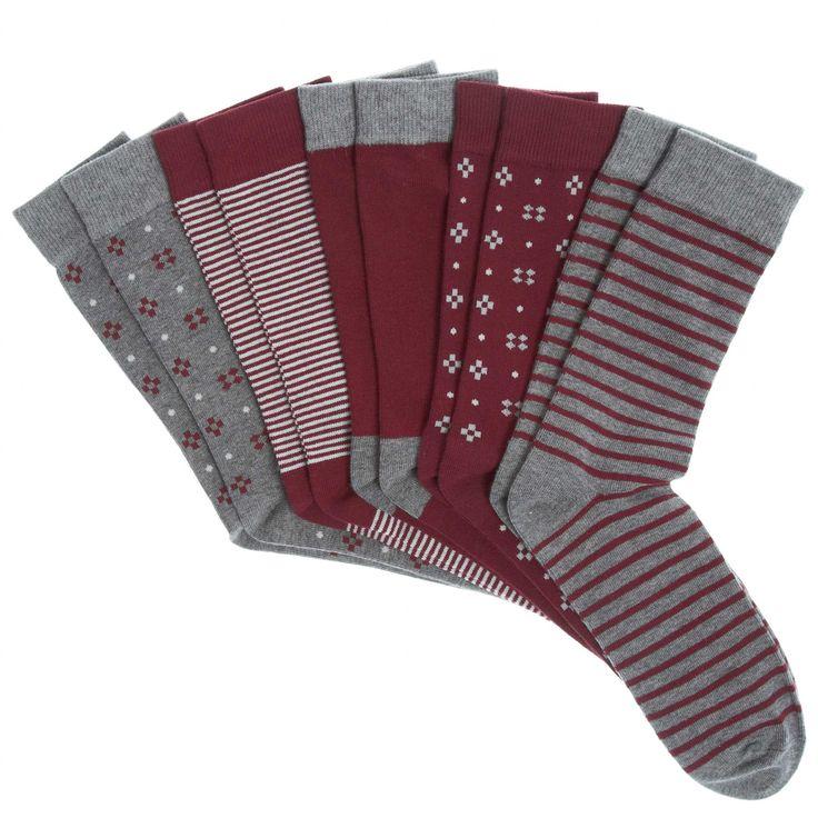 Lot de 5 paires de chaussettes                                                                                                                                             bordeaux Homme