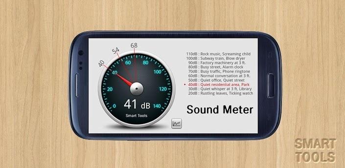 Sound Level Meter es la parte 4 del paquete Smart Tools (ruido).  El medidor de nivel de sonido utiliza el micrófono del teléfono para medir el nivel de ruido en decibelios(dB) mostrando una referencia. Hemos calibrado mucho dispositivos android con un medidor real de nivel sonoro en dB(A).