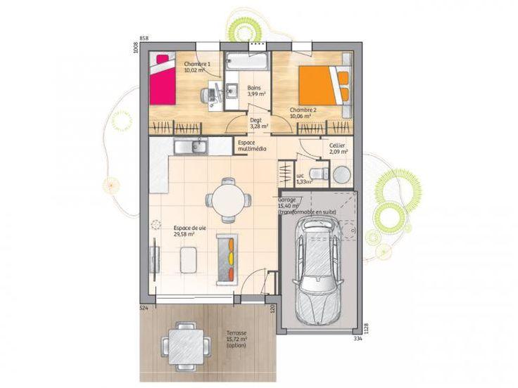 Plan de maison Open Sud PP GI accès Sud 60 so design : Vignette 1