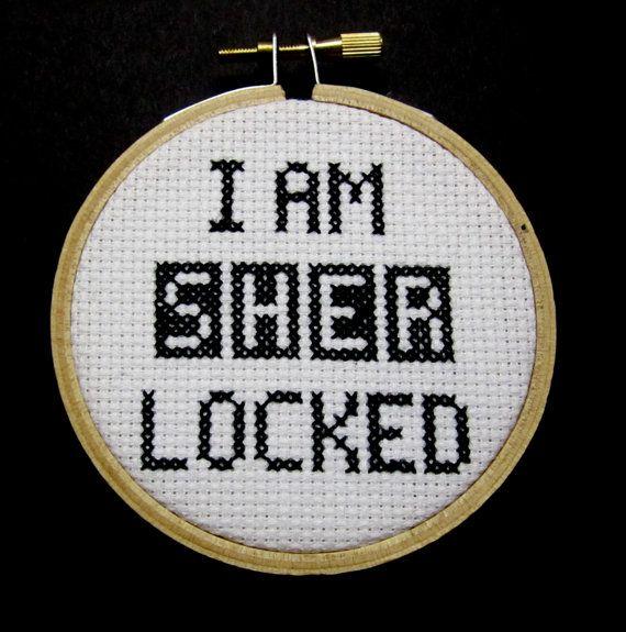 """""""I am Sherlocked"""" - Sherlock Cross Stitch by BananyaStand on Etsy"""