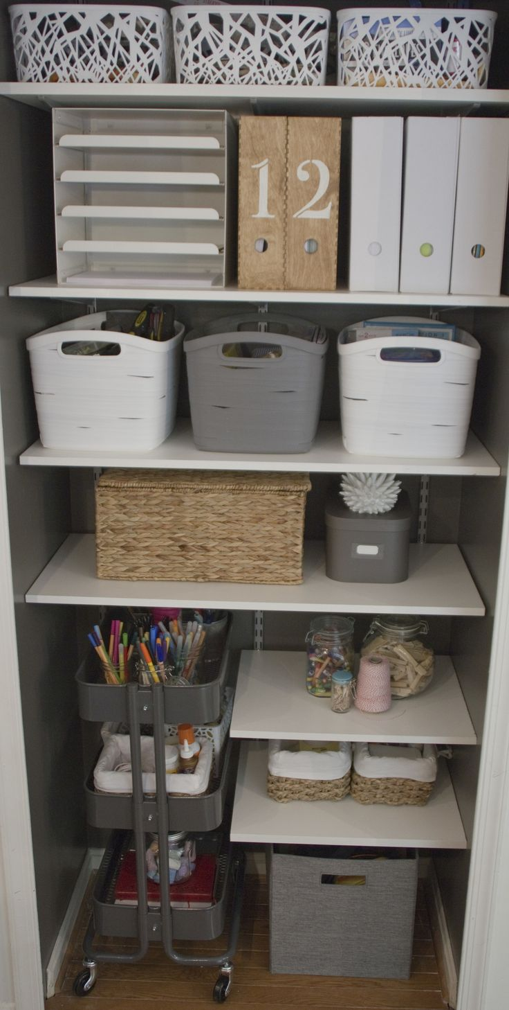 Office. Craft Room. Craft Closet Organization. Adjustable Shelves. IKEA Raskog Cart. Minimalist Design.