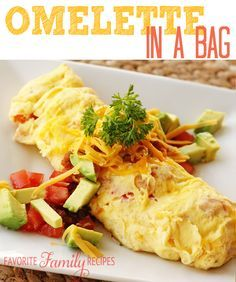 Omelette in a Bag - have an omelet party - each person mixes ingredients in Zip Lock bag - can cook 6 at a time